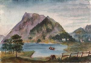 SKIDDAW-FROM-BASSENTHWAITE-LAKE-LAKE-DISTRICT-CUMBRIA-Antique-Painting-c1851