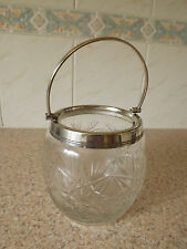 Cut glass round biscuit barrel sliver plated mounts
