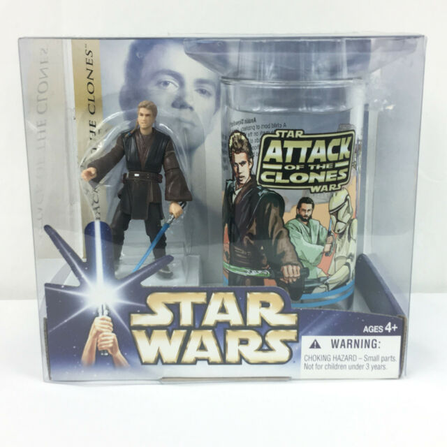 Star Wars Anakin Skywalker AOTC Glass and Figure Set Hasbro 2004 Vintage NEW