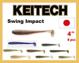 KEITECH-Fishing-Lures-Swing-IMPACT-4-034-8-pcs-Japon-forte-parfumee-Dropshot-Shad