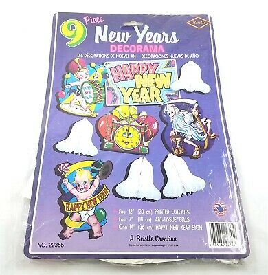 Vintage Beistle New Years Eve Decorations Die Cut ...