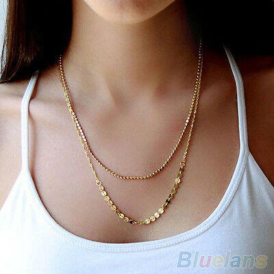 Womens 9K Gold Plated Double Chain Sequins Beads Charm Pendant Nobby Necklace