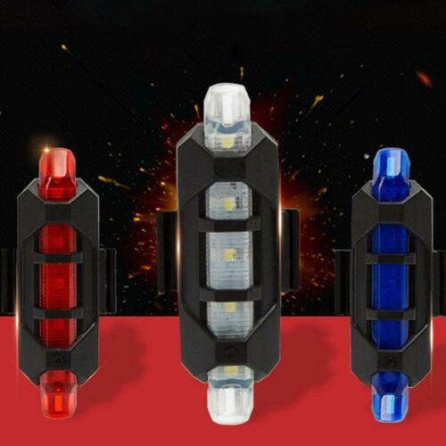 5 LED USB Rechargeable MTB Bike Tail Light Bicycle Safety Warning Rear Lamp US