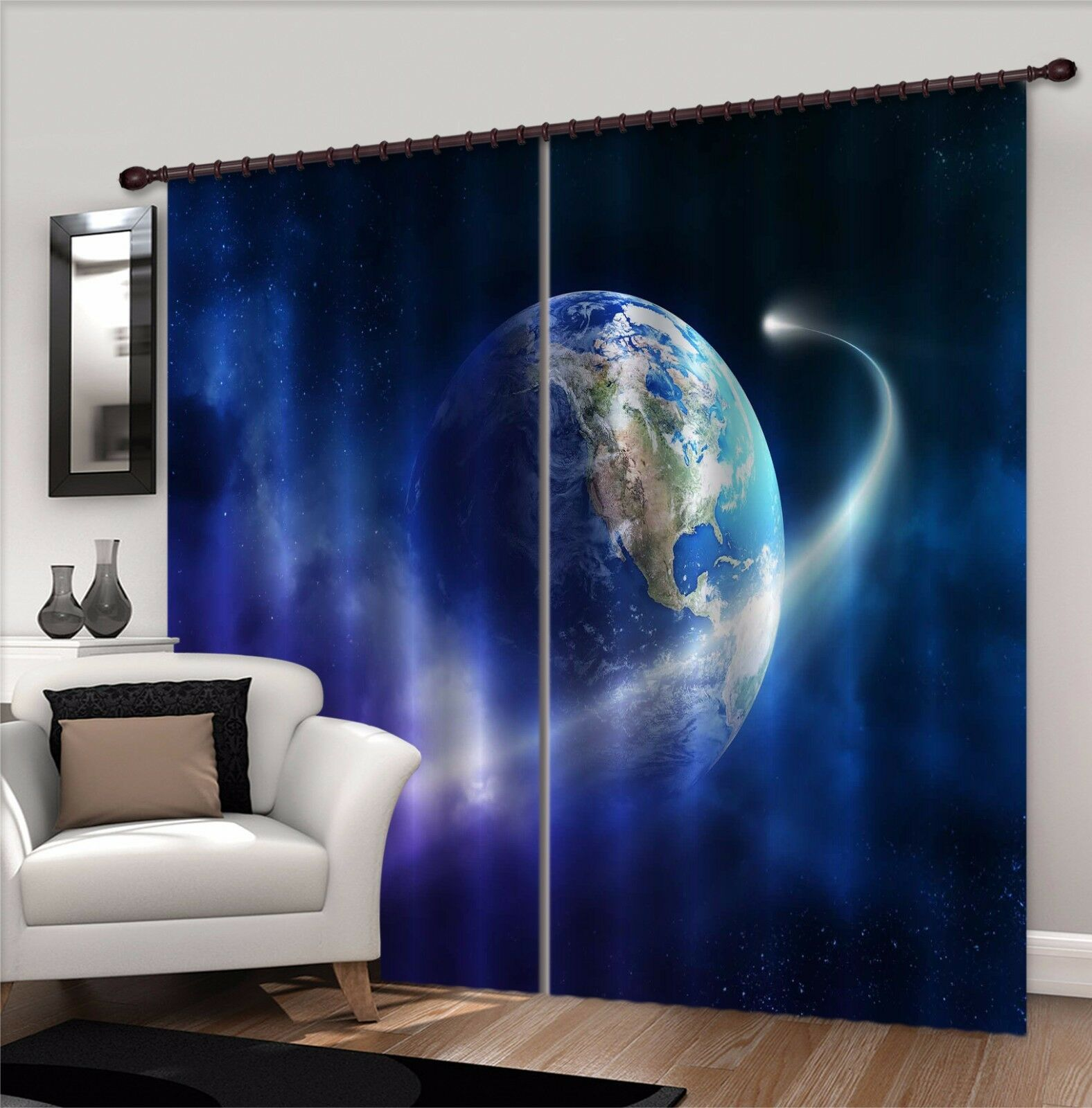 3D Azul Globe 7 Cortinas de impresión de cortina de foto Blockout Tela Cortinas Ventana au