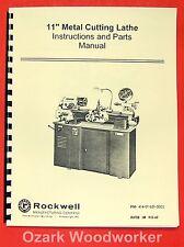 Rockwell 11 Cabinet Metal Lathe Operatingparts Manual 0590