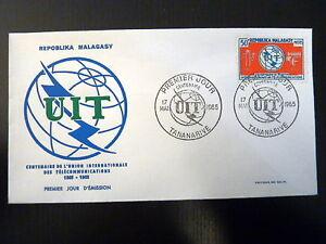 MADAGASCAR-406-PREMIER-JOUR-FDC-UIT-TELECOMMUNICATIONS-50F-1965