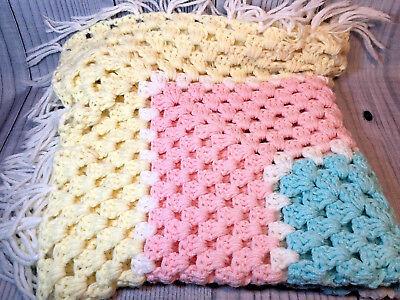 Pink Baby Hand Knit Crochet Afghan Blanket