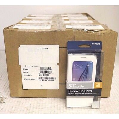 Lot of 40 Samsung S-View Flip Cover For Samsung Galaxy S6 - White Pearl