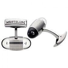 MONTBLANC STAINLESS STEEL CUFFLINKS FLOATING DIAMONDS NEW BOX GERMANY 101545