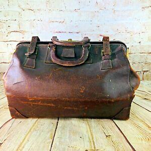 Vintage-Antique-Doctor-039-s-Large-BROWN-Leather-Medical-Bag-Duffle