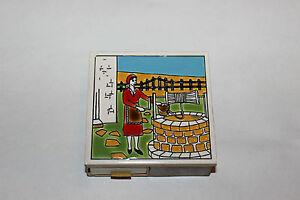 Vintage Ceramic Tile Match Book Holder Woman At Well