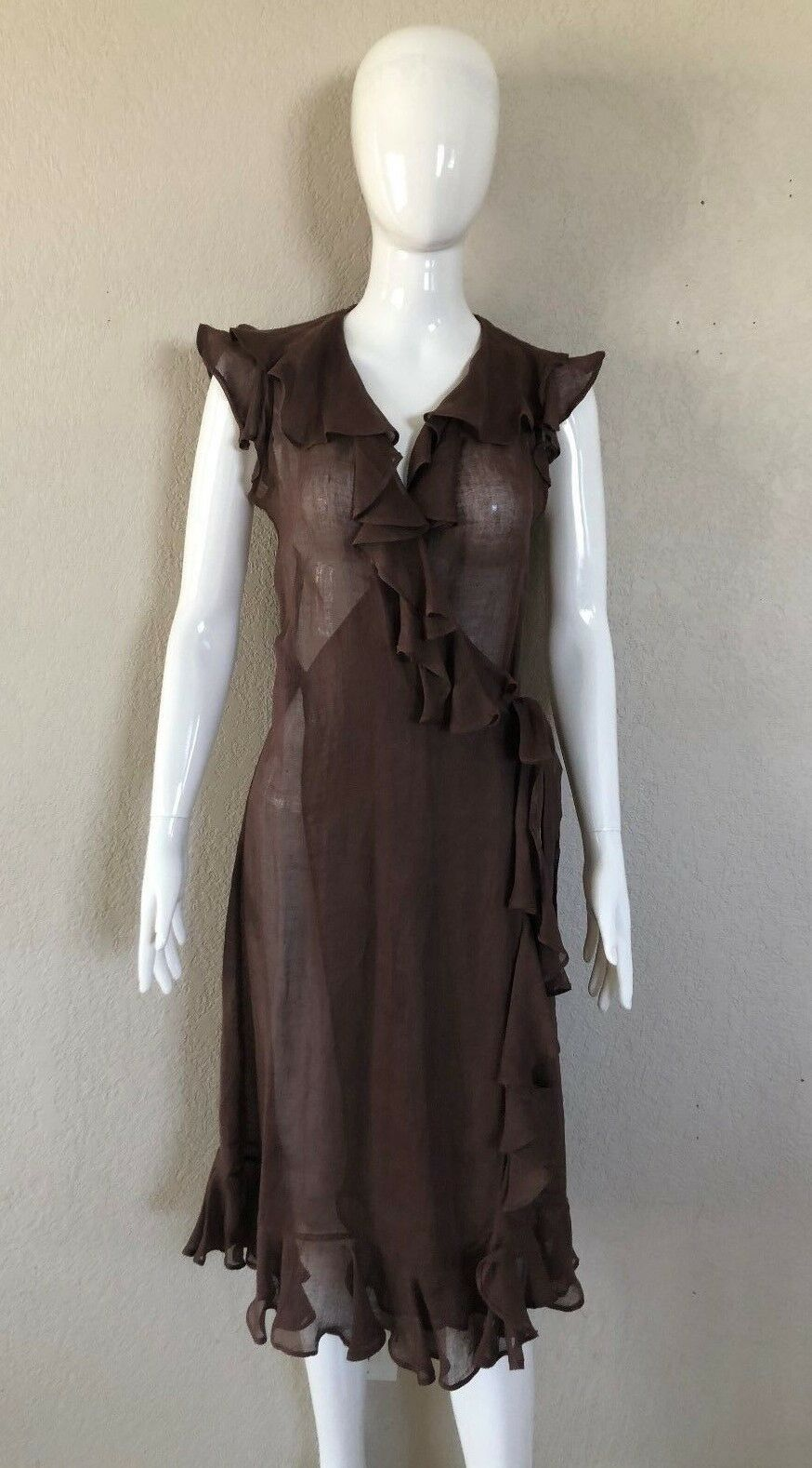 Clements Ribeiro Brown Dress Sleeveless Flax  S S S Small 0cf564