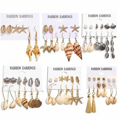 5//6Pairs Boho Tassel Crystal Pearl Earrings Set Women Ear Stud Dangle Jewelry