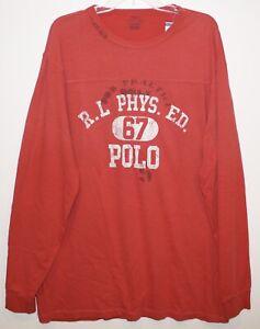 Polo-Ralph-Lauren-Big-amp-Tall-Mens-LT-Red-Football-L-S-Cotton-T-Shirt-NWT-Size-LT