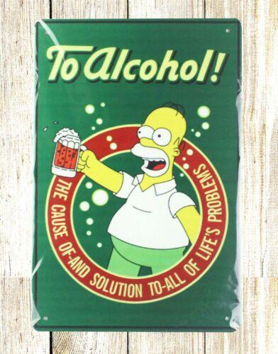 bedding ideas dorm room Homer Simpson To Alcohol tin metal sign