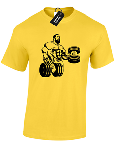 BICEP CURLS MENS T SHIRT WORKOUT CROSSFIT EXERCISE WEIGHTLIFTING MUSCLE SQUAT