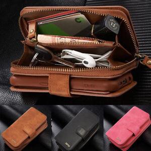 big sale 64178 e978a Details about Leather Wristlet Cash Clutch Wallet Phone Case Cover For  iPhone 6 6S 7 8 Plus SE