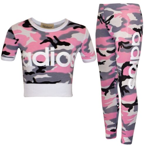 Girls ADIOS Camouflage Crop Top /& Legging Set Kids Outfit Age 7-13 Years