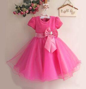 Bebe-Filles-Rose-Chaud-Fuchsia-Princesse-Cendrillon-style-robe-de-soiree-Occasion