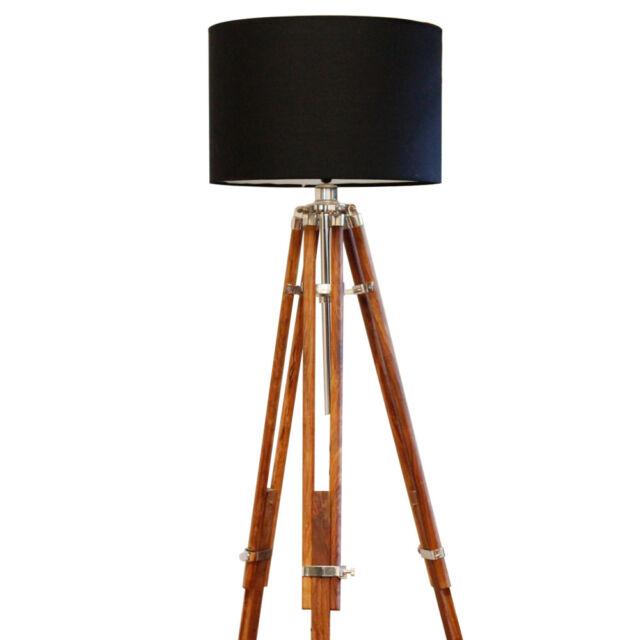 Handmade CLASSIC Chrome Tripod FLOOR Shade LAMP Rustic marine vintage look light