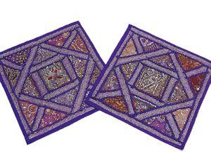 2-Purple-Sari-India-Decorative-Sofa-Throw-Bead-Pillows