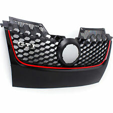 VW GOLF MK5 GTI Gloss Black Bumper Grille with red Border MK V 2003-09 plate off