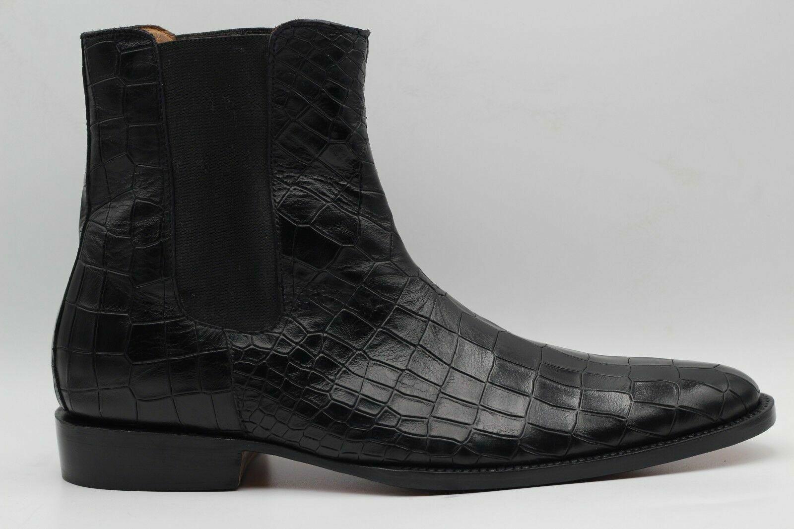botas para hombre hecho a mano Genuino Negro De Piel De Becerro Cocodrilo Estampado Casual Chelsea