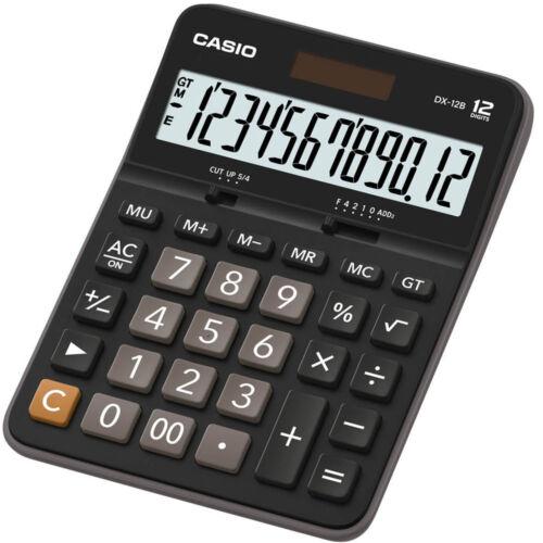 CASIO DX-12B Calcolatrice da Tavolo Grande Formato 12 Cifre Solare//Batteria
