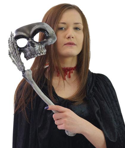 Grim Masquerade Visage Moitié Crâne Masque à Bâton /& sang cou tour de cou-Halloween Set