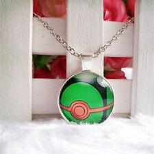 Dusk Ball Pokeball Pokemon Pendant Tibet silver Cabochon Glass Chain Necklace
