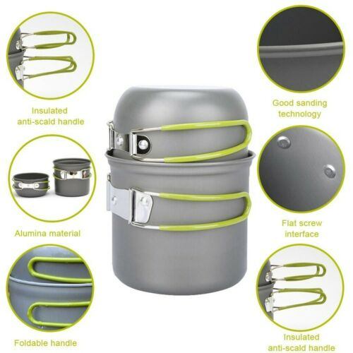 Camping Cookware Kit Portable Cooking Equipment Pot Set Outdoor Hiking Picnic