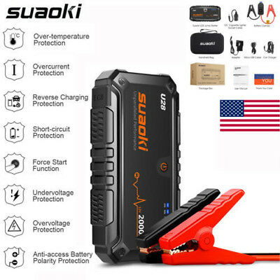 Suaoki U28 2000A 12V Car Jump Starter Booster Battery Charger Power Bank LED SOS