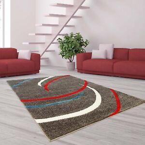 teppich hochwertig modern moda konturenschnitt sichel muster grau rot weiss ebay. Black Bedroom Furniture Sets. Home Design Ideas