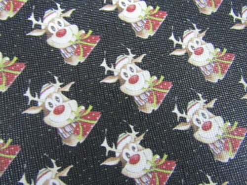 CHRISTMAS  PRINTED LEATHERETTE  20*34 CM   BOWS//CRAFTS CHOICES