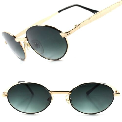 Old Fashion Vintage Retro 80s Hip Indie Mens Womens Gold Round Oval Sunglasses