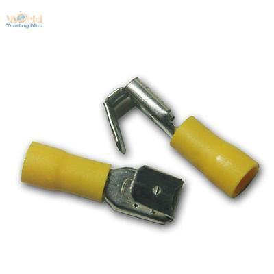 0,23 EUR//Stück 10 teilisolierte Flachsteckhülsen mit Abzweig 6,3x0,8 gelb