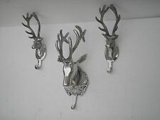 wall mounted deer head coat hook set of 3 pieces stag head fx