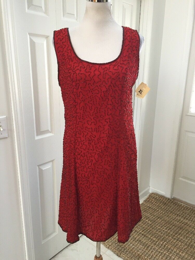 Vintage NWT Lawrence Kazar Red Silk Beaded Fit & Flare Sleeveless Dress XL