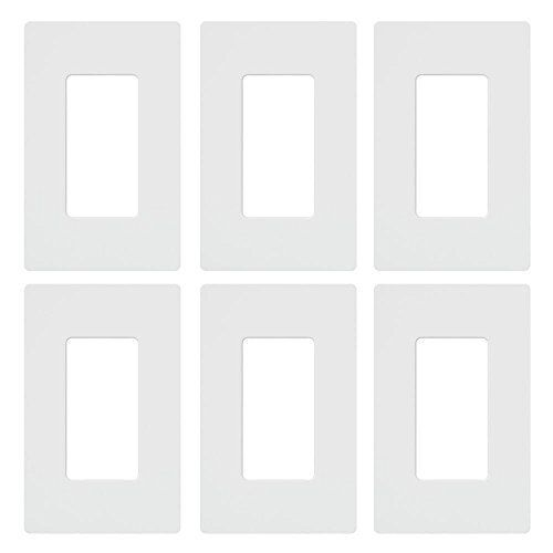 6 Pack White Lutron CW-1-WH-6  Claro 1-Gang Wall Plate