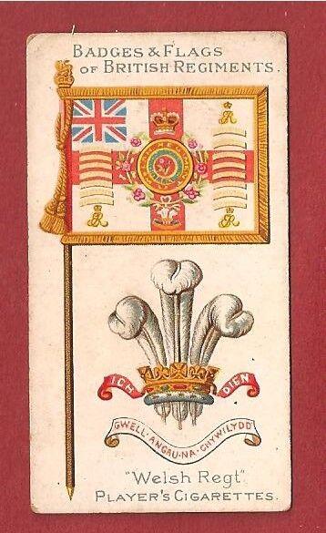 The WELSH REGIMENT The Welch  Flag & Badge 1904 original card