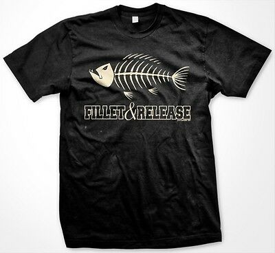Fillet and Release Fishing Bones Skeleton Scales Fish Bass Funny Men's T-Shirt