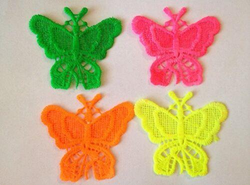4pz Color fluo pizzo macramè  PER creare orecchiniI  forma farfalla 7cmX6cm