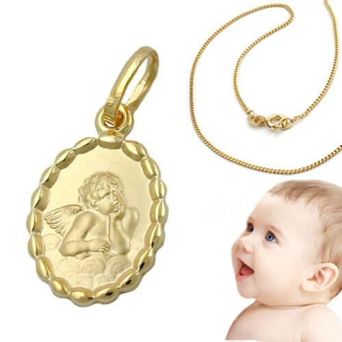 Gold 375 Kinder Baby Geburt Taufe Schutz Engel mit Kette Silber 925 vergoldet