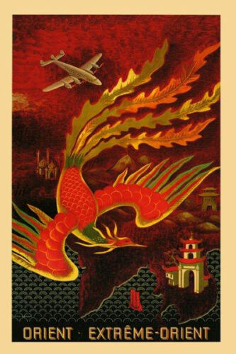 Orient China India Asia Airplane Plane Travel Tourism Vint Poster Repro FREE S//H