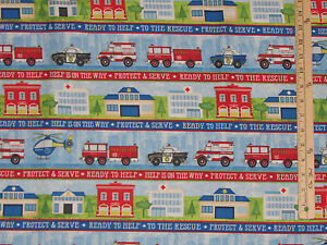 Help-is-on-the-Way-Firemen-Fire-Truck-Police-Car-Rescue-Fabric-32-034-x-44-034-82471
