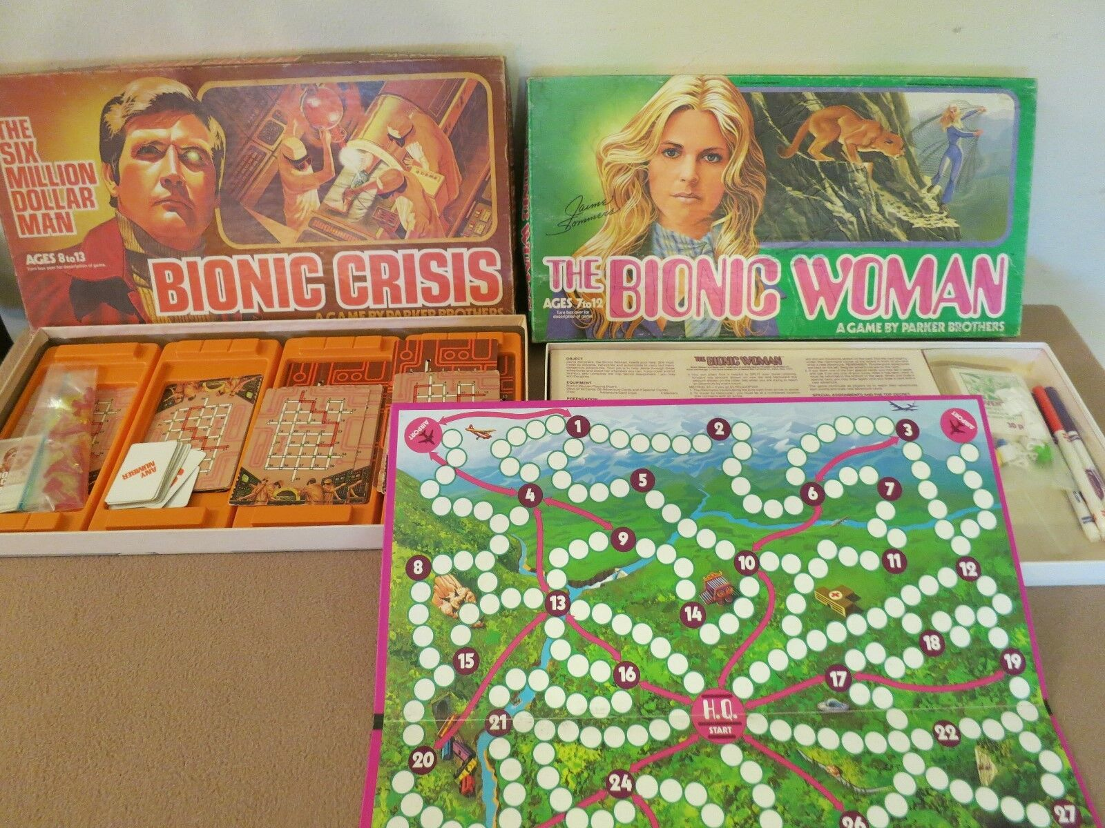 (2) 1975 & 76 VINTAGE   BIONIC MAN & BIONIC WOMAN   BOARD GAMES ORIGINALS PARKER