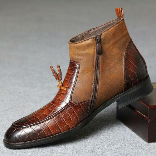 Herren Casual Dress Lederschuhe Oxfords Boots Formale Ankle Business Reißverschluss OpqOvwZr