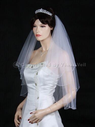 2T White Elbow Scalloped Beaded Edge Bridal Wedding Veil