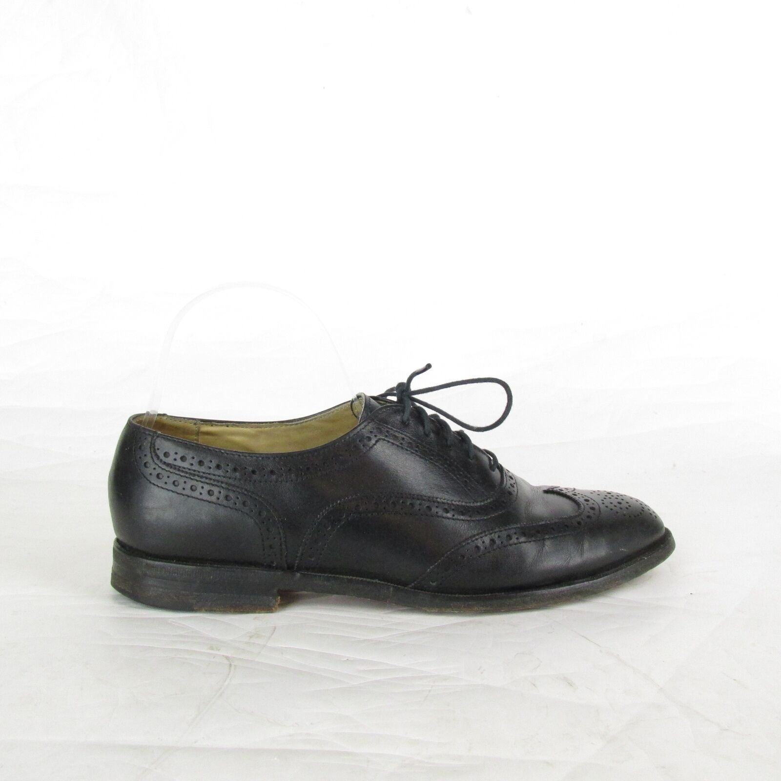 Men's Black Leather Wing Tip Cole Haan Formal Oxford Dress shoes 7.5 D USA Made