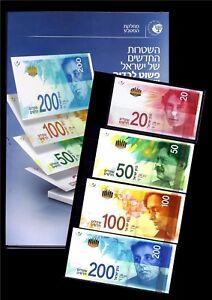 ISRAEL-2014-2017-FULL-SET-20-50-100-200-SHEQEL-NIS-BANKNOTE-MONEY-BOOKLET-UNC